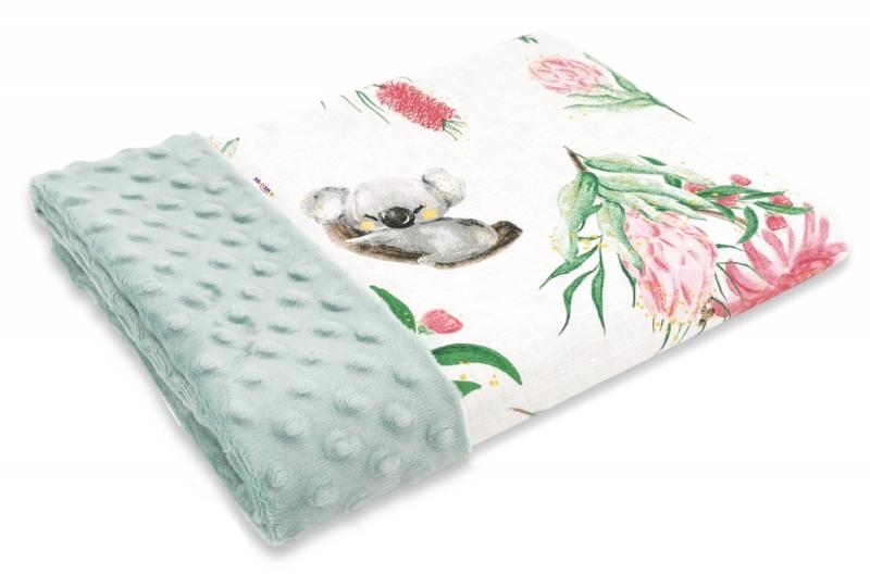 Baby Nellys Bavlnená deka s Minky 100x75cm, Exotika, biela/mátová
