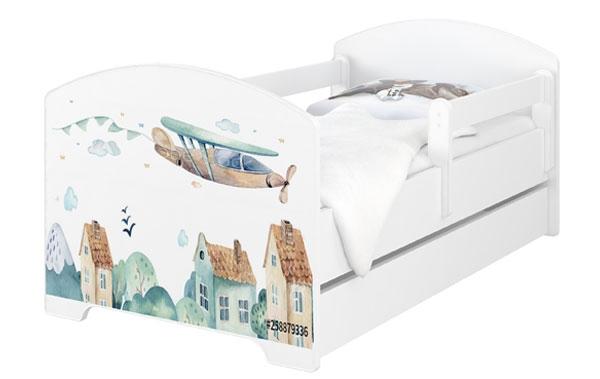 Babyboo Detská posteľ 140 x 70 cm - Lietadlo + šuplík