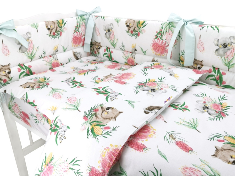 BABY NELLYS 3-dielna sada mantinel s obliečkami, Exotika, biela, 120x90 cm