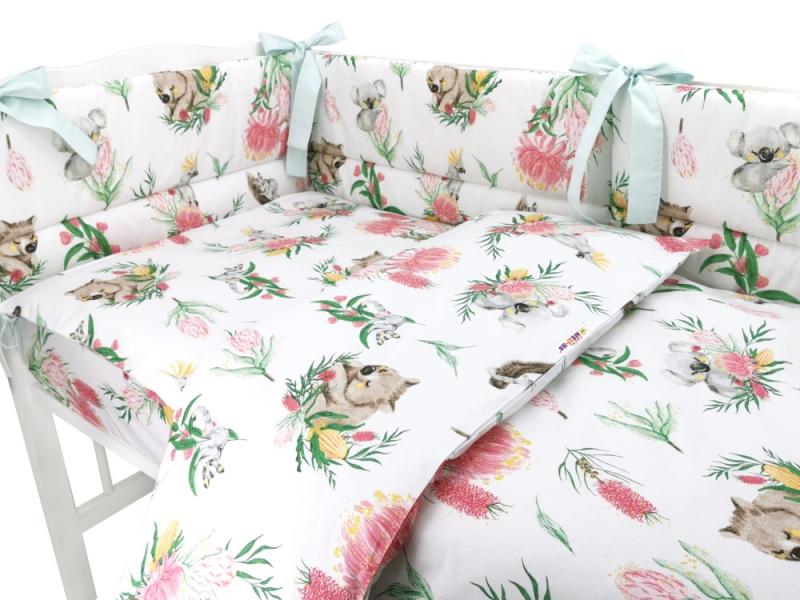 BABY NELLYS 3-dielna sada mantinel s obliečkami, Exotika, biela, 135x100 cm