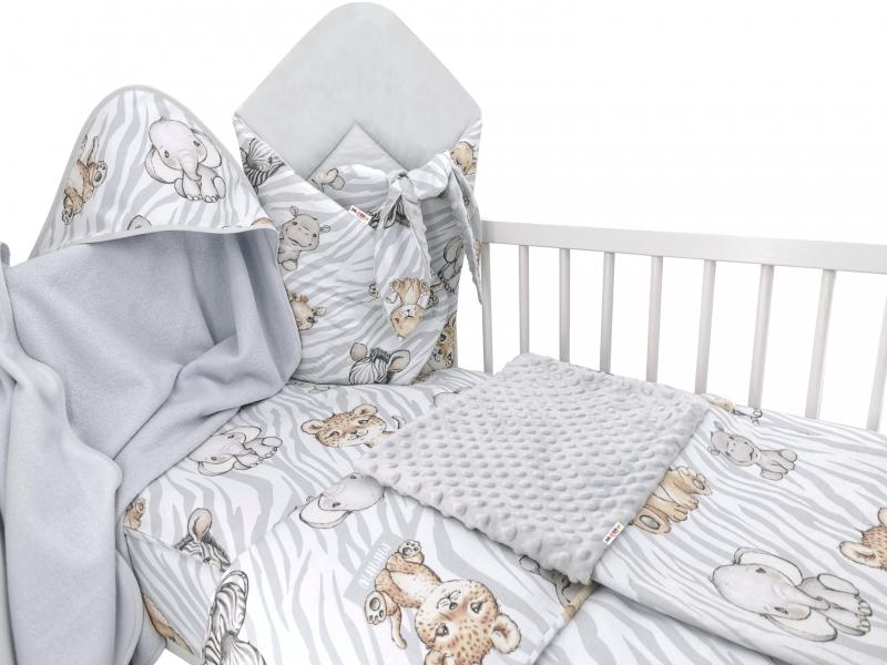 Baby Nellys 6-dielna výhod. súprava pre bábätko s darčekom,120 x 90, ZOO Natural, sivá