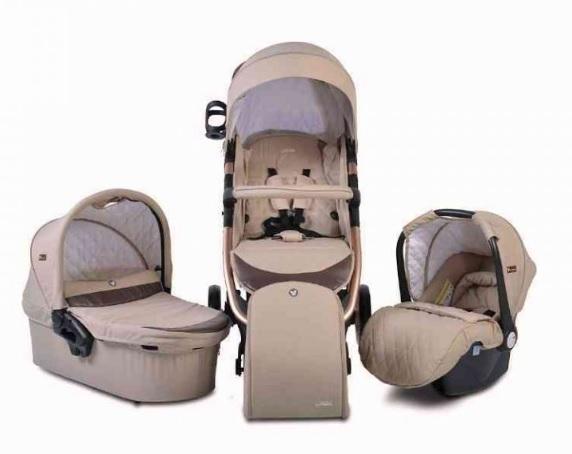 Cangaroo Detský kočík 3v1, Noble 2021 - béžový