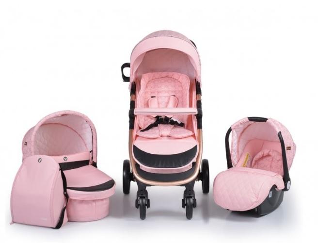 Cangaroo Detský kočík 3v1, Noble 2021 - růžový