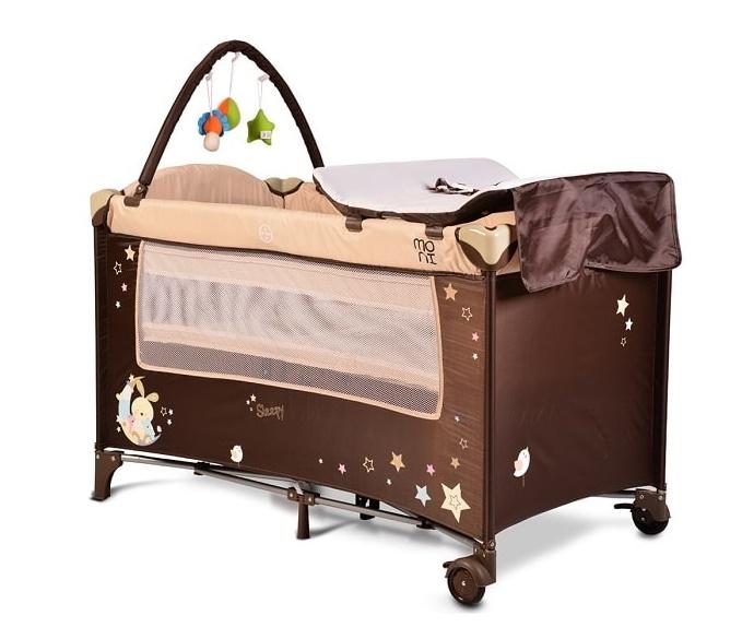 Moni Detská cestovná ohrádka Sleepy s kolieskami - béžová