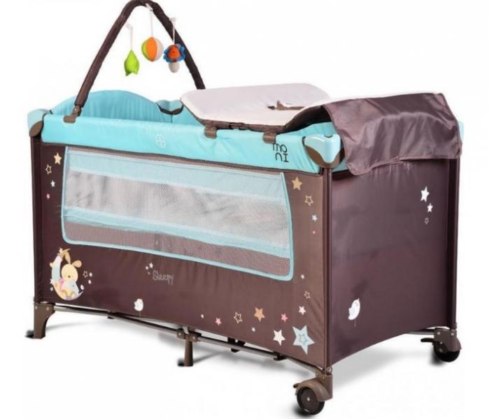 Moni Detská cestovná ohrádka Sleepy s kolieskami - modrá