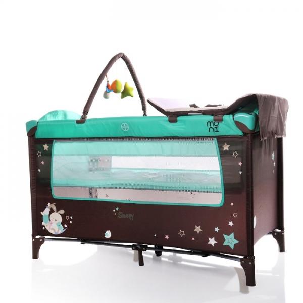 Moni Detská cestovná ohrádka Sleepy s kolieskami - tyrkysová
