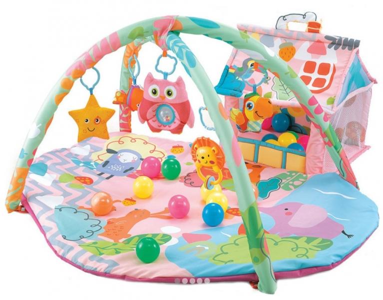 Cangaroo Detská hracia podložka Happy Farm, ružová