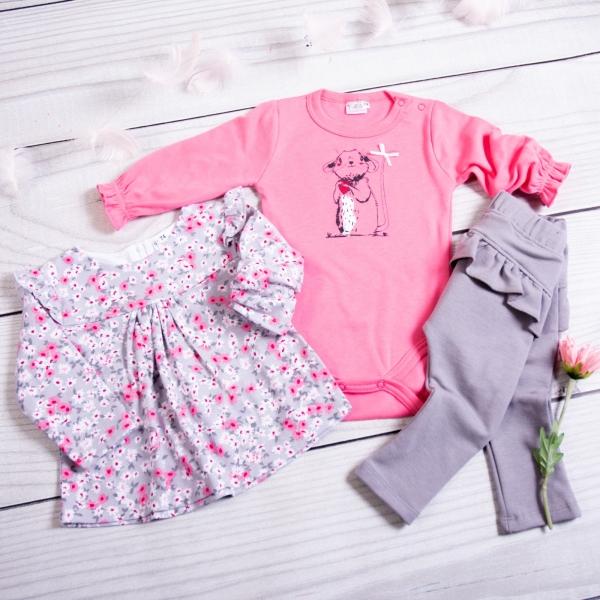 K-Baby 3-dl. sada, 1x body dl. rukáv, tunika, legíny - Myška, růžová, šedá, veľ. 80