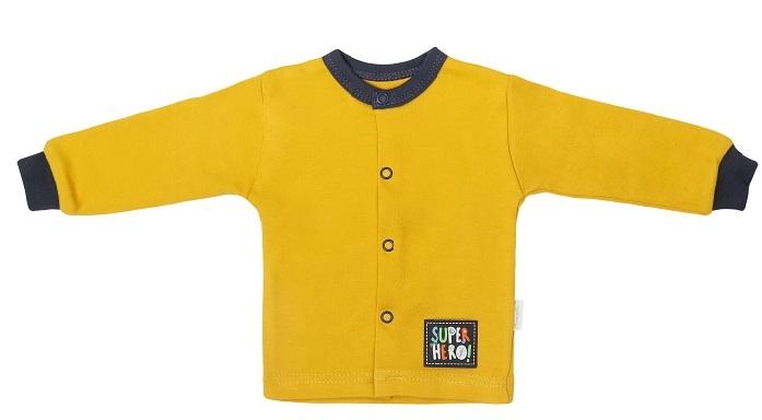 Mamatti Novorodenecká bavlnená košieľka, kabátik, Hero - horčicová, veľ. 62