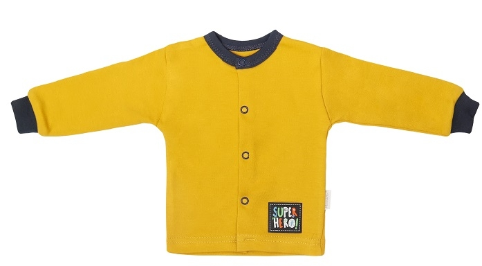 Mamatti Novorodenecká bavlnená košieľka, kabátik, Hero - horčicová, veľ. 68