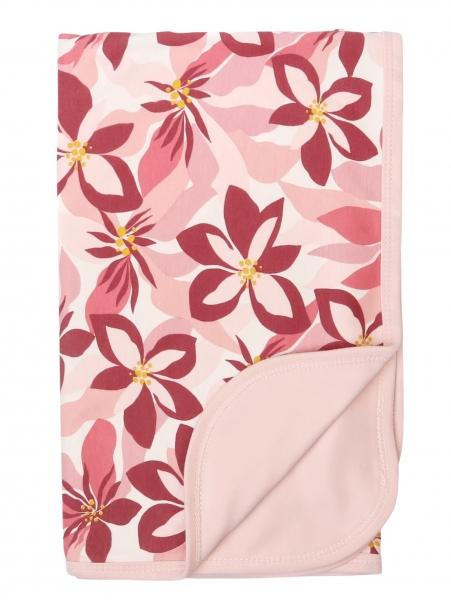 Mamatti Detská obojstranná bavlnená deka, 80 x 90 cm, Magnólie, růžová