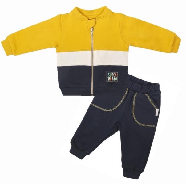 Mamatti Detská tepláková súprava zapínanie na zips Hero, horčicová / granát-#Velikost koj. oblečení;68 (3-6m)