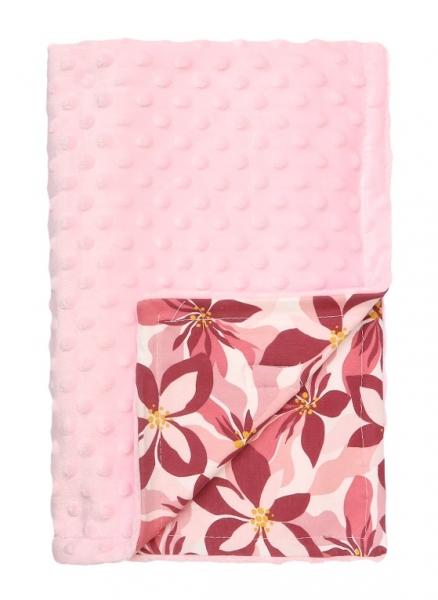 Mamatti Detská bavlněná deka s minky, Magnólie, 75 x 90 cm, růžová