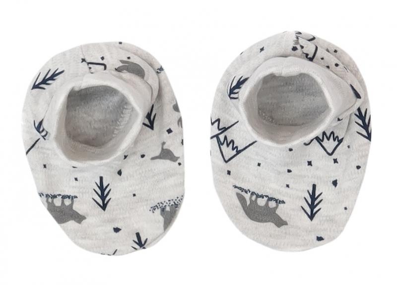 Mamatti Dojčenské topánočky, ponožtičky Hory - sivé s potlačou