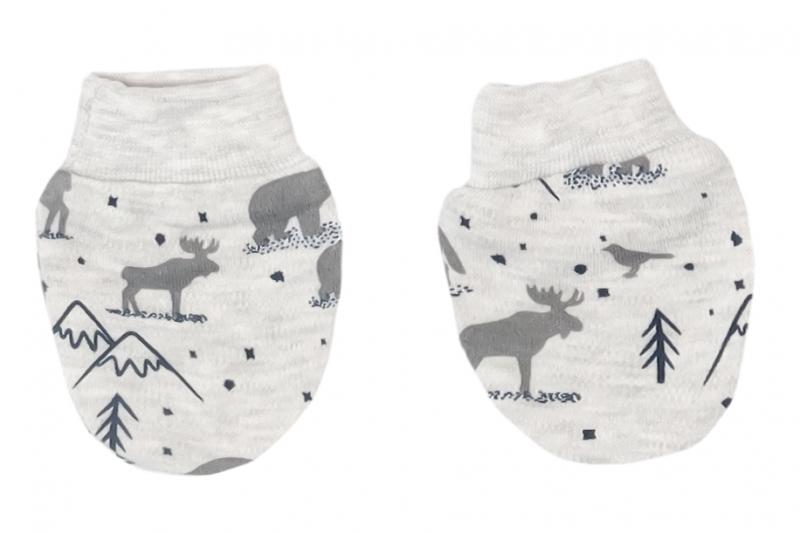 Mamatti Dojčenské rukavičky Hory, sivé vzorované
