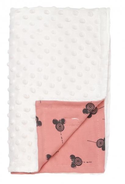 Mamatti Detská bavlněná deka s minky, New minnie, 75 x 90 cm, púdrová