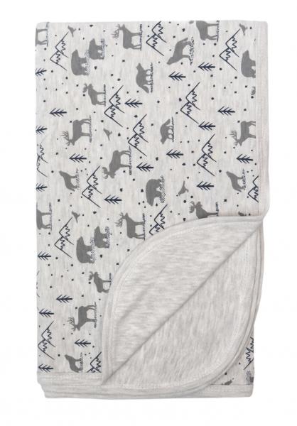 Mamatti Detská obojstranná bavlnená deka, 80 x 90 cm, Hory, sivá s potlačou