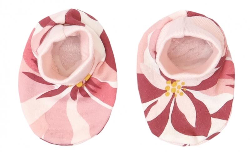 Mamatti Dojčenské topánočky, ponožtičky Magnólia, pudrové s potlačou