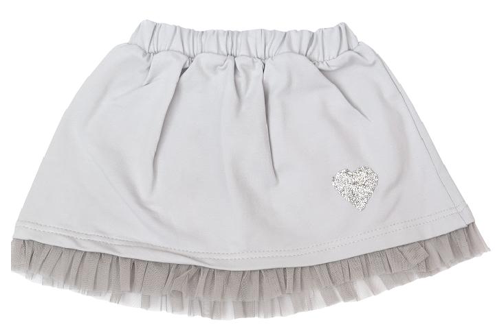 Detská bavlnená sukňa, Listy - sivá