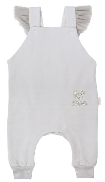 Mamatti Dojčenské laclové tepláčky, dupačky s volánikmi, Listy - sivá, veľ. 68-#Velikost koj. oblečení;68 (3-6m)