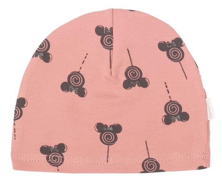 Mamatti Bavlnená čiapočka New Minnie, pudrová s potlačou-#Velikost koj. oblečení;56-80 (0-12m)