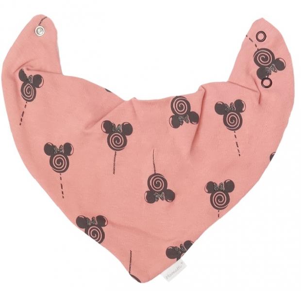 Mamatti Dětský šátek na krk New Minnie - pudrový s potlačou