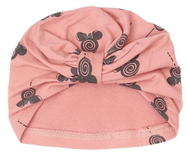 Mamatti Bavlnená detská čiapka - turban, New Minnie - pudrová s potlačou-#Velikost koj. oblečení;56-80 (0-12m)