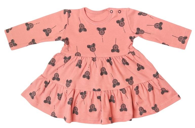 Mamatti Dojčenské šaty s volánikmi, dl. rukáv, New Minnie, pudrové s potlačou