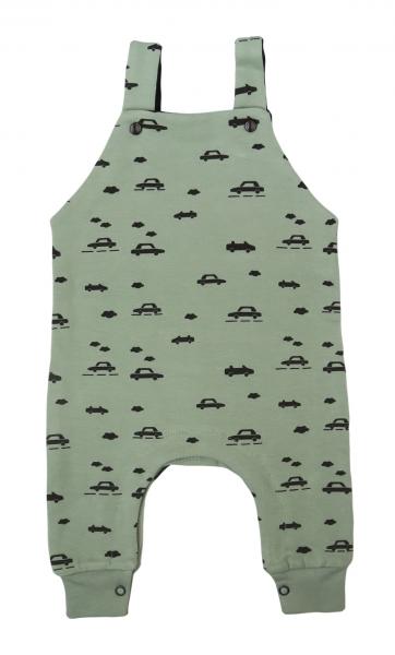Mamatti Detské laclové nohavice Auta - olivové, vel. 74-#Velikost koj. oblečení;74 (6-9m)