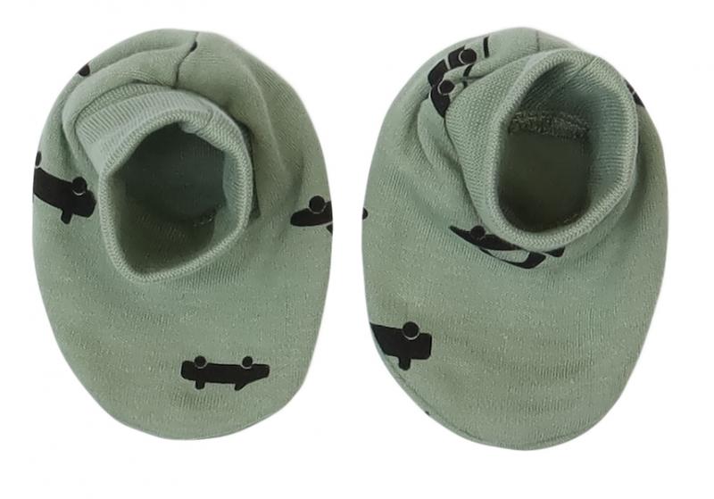 Mamatti Dojčenské topánočky, ponožtičky Auta - olivové