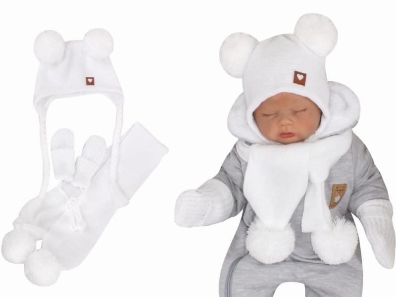 Z&Z Pletená čiapka s brmbolcami, šálom a rukavičky 3v1, biela