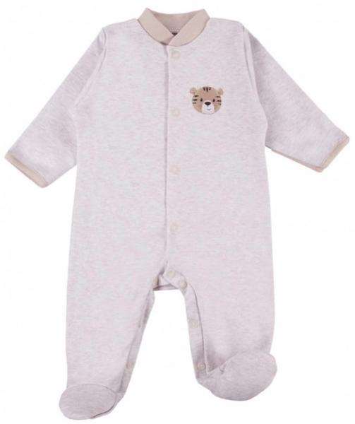 Dojčenský bavlnený overal Tigrík - béžový, veľ. 50