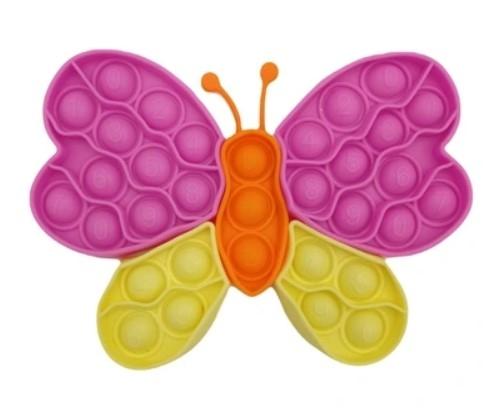 Pop It - Praskající bubliny, silikonová antistresová spol. hra, Puzzle motýľ