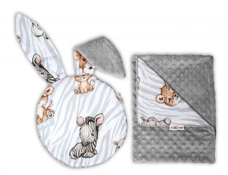 Baby Nellys 2-dielna sada do kočíka s Minky s uškami - ZOO Natural, sivá