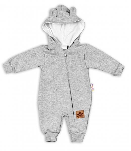 Baby Nellys ® Teplákový overal s kapucňou - šedý