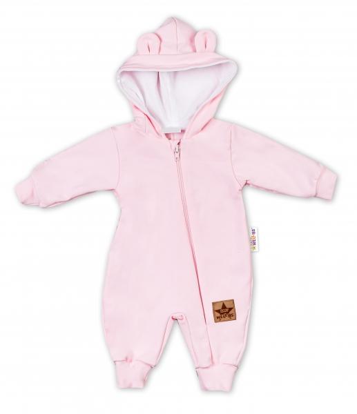 Baby Nellys ® Teplákový overal s kapucňou - sv. růžová, veľ. 74