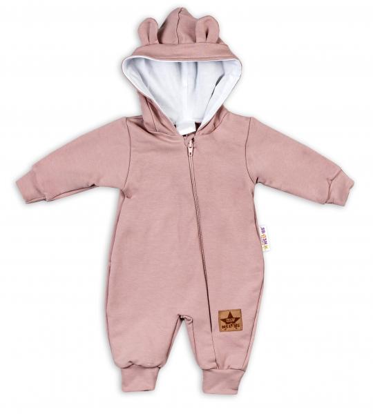 Baby Nellys ® Teplákový overal s kapucňou - pudrová, veľ. 74