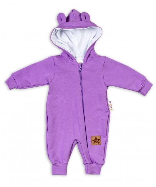 Baby Nellys ® Teplákový overal s kapucňou - fialový, veľ. 80