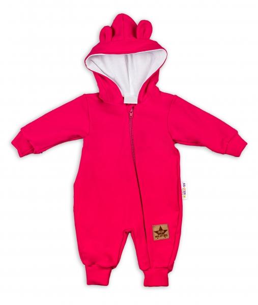 Baby Nellys ® Teplákový overal s kapucňou - malinový, veľ. 86