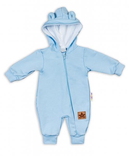 Baby Nellys ® Teplákový overal s kapucňou - sv. modrý, veľ. 74