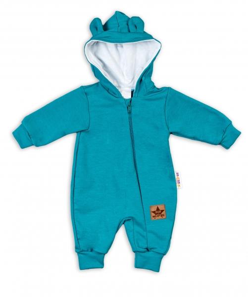 Baby Nellys ® Teplákový overal s kapucńou - tyrkysový, veľ. 74