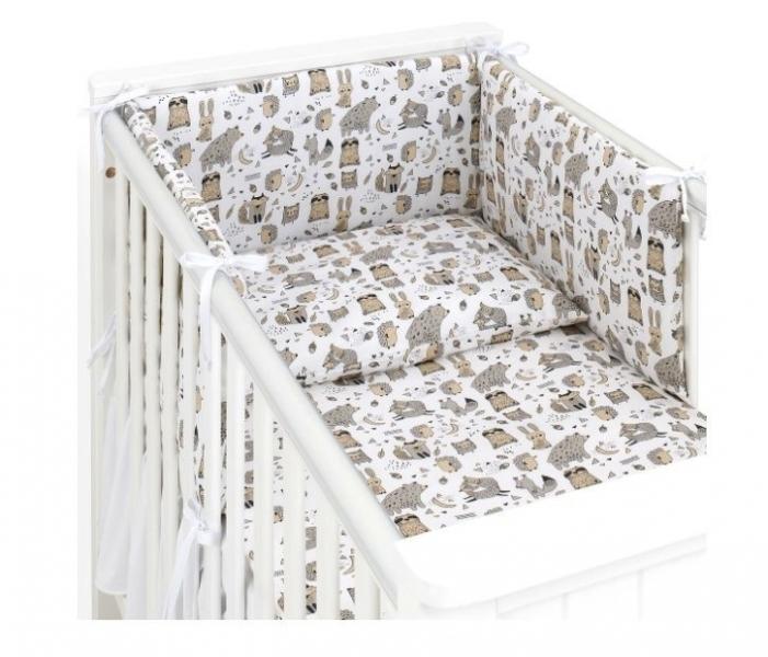 Mamo Táto 3-dielny set do postieľky s mantinelom - Lesné zvieratká, biele, 135x100 cm