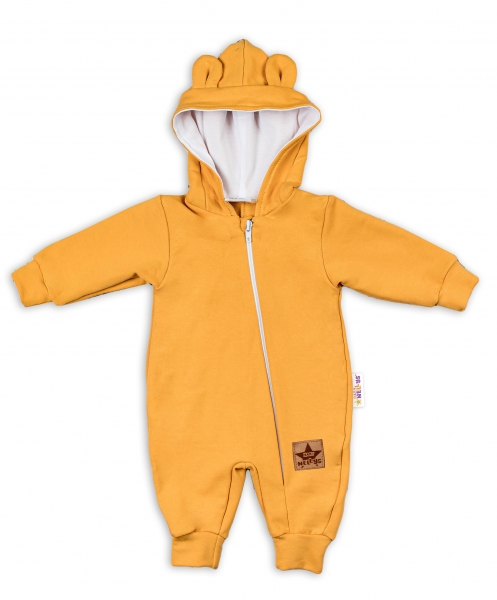Baby Nellys ® Teplákový overal s kapucňou - horčicový