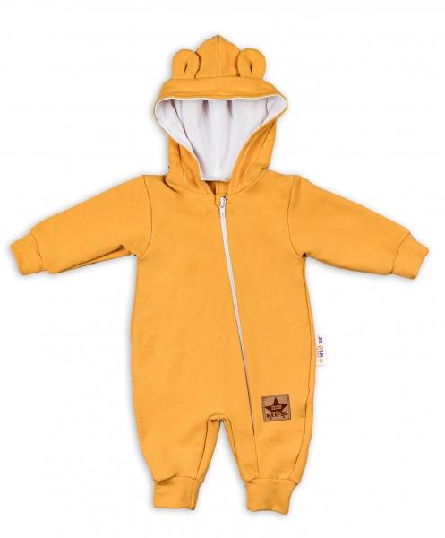 Baby Nellys ® Teplákový overal s kapucňou - horčicový, veľ. 80