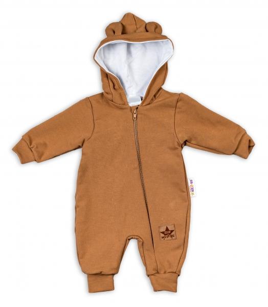 Baby Nellys teplákový overal s kapucňou Teddy - karamelový, veľ. 80