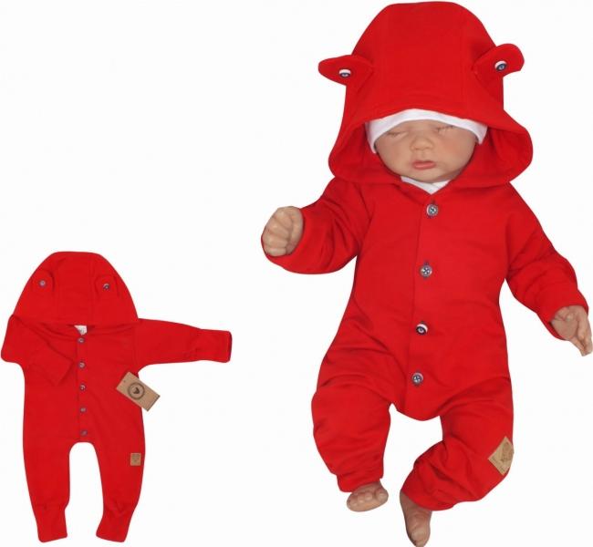 Z & Z Detský teplákový overal s gombíkmi a kapucňou, červený-#Velikost koj. oblečení;56 (1-2m)
