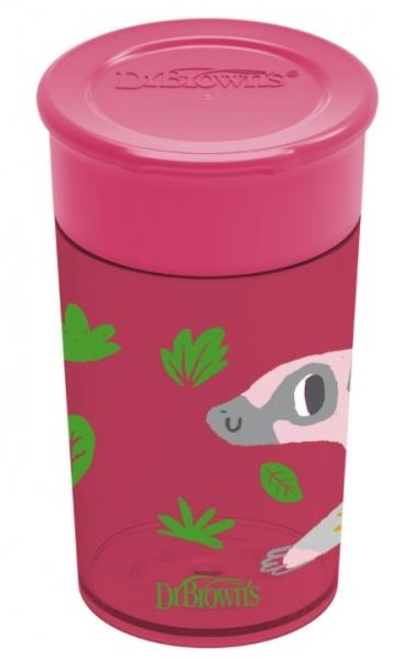 Dr.Browns Kúzelný hrnček Cheers 360 °, 9 m+, tm.ružový