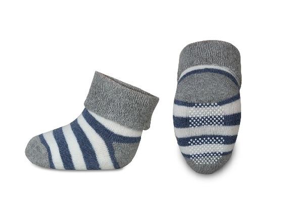Dojčenské froté ponožky, RISOCKS protišmykové - pruhy, sivá/granát/biela