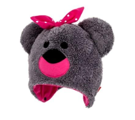 BEXA Zimná čiapka na zaväzovanie s uškami, Teddy - sivá/ružová, veľ. 92/98-#Velikost koj. oblečení;92-98 (18-36m)