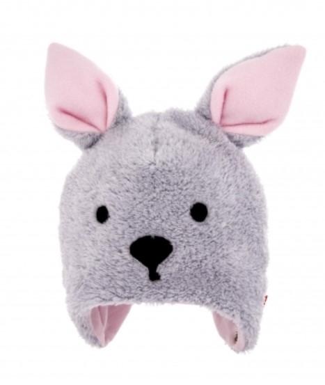 BEXA Zimná čiapka na zaväzovanie s uškami, Bunny - sivá/ružová, veľ. 62/68